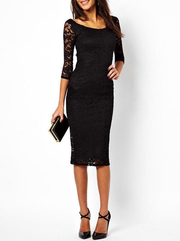 Sexy Lace Half Sleeve Round Neck Bodycon Midi Dress
