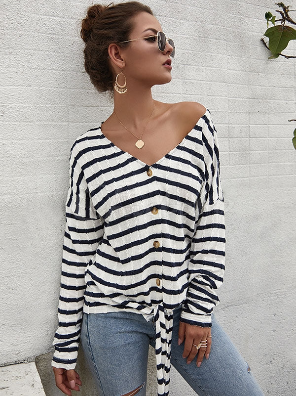 Striped Buttoned V-neck Cardigan Sweater