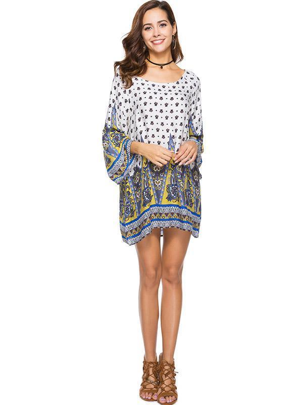 Printed Long Sleeves Kaftan Mini Dress
