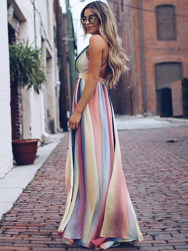 Deep V-neck Backless Gradient Maxi Dress