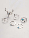 Gypsy 7PCS Elk Pattern Turquoise Rings Accessories