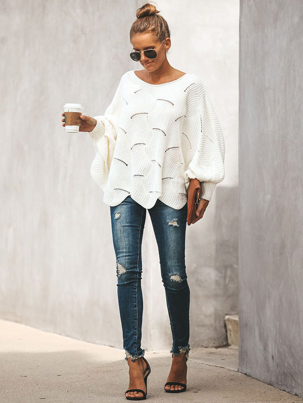 2 Colors Puff Sleeve Sweater