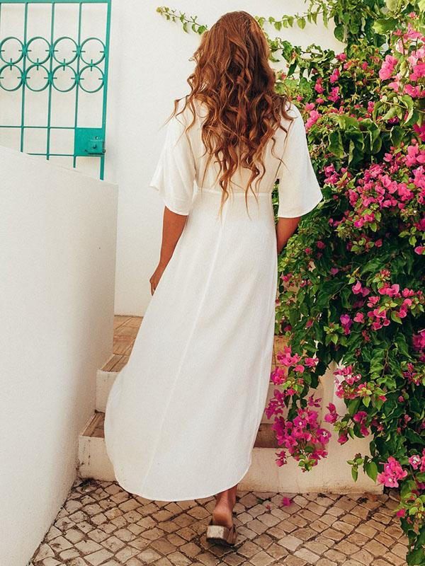 Asymmetric Belted V-neck Maxi Dress