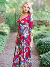 Bohemia Floral Printed V-neck Maxi Dress