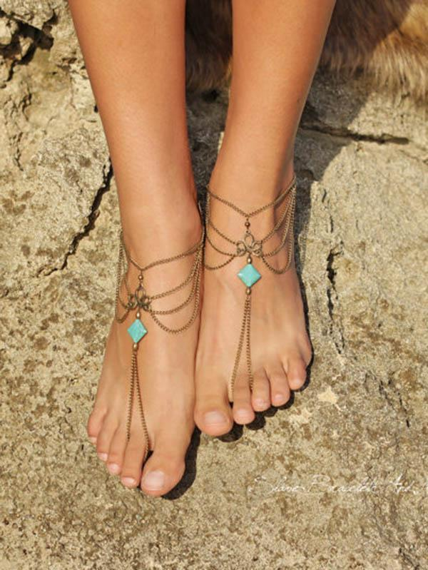 Pretty Tassels Turquoise Footchain Accessories
