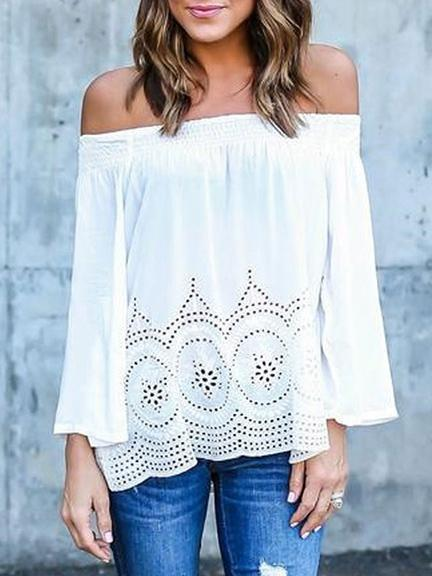 Chiffon Off-the-shoulder Long Sleeves Blouse&shirt Tops