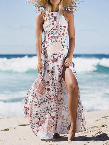 Bohemia Inwrought Long Sleeve V Neck Beach Long Dress
