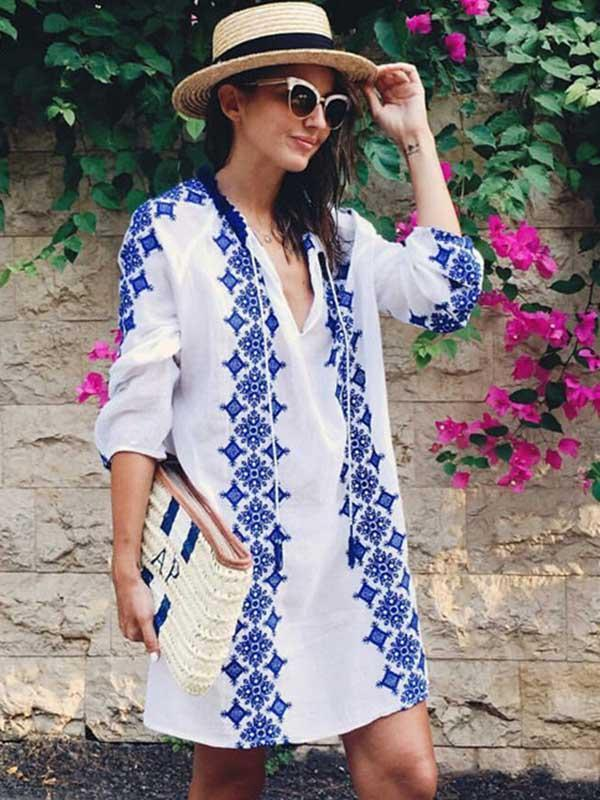 V-neck Printed Swimwear Cover-up
