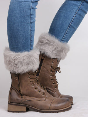 Solid Color Faux Fur Ankle Socks