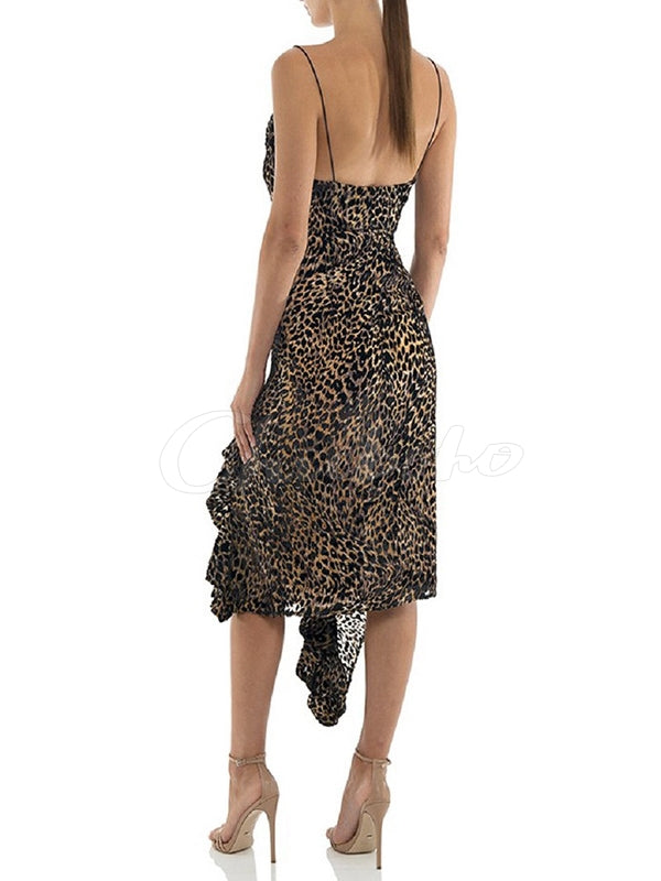 Sexy Leopard Cropped Spaghetti-neck Midi Dress