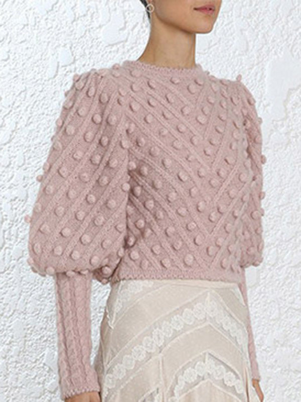 Solid Color Knitting Long Sleeves Sweater Tops