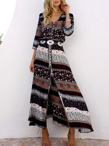 Printed Split-joint Bell-bottomed Jumpsuit