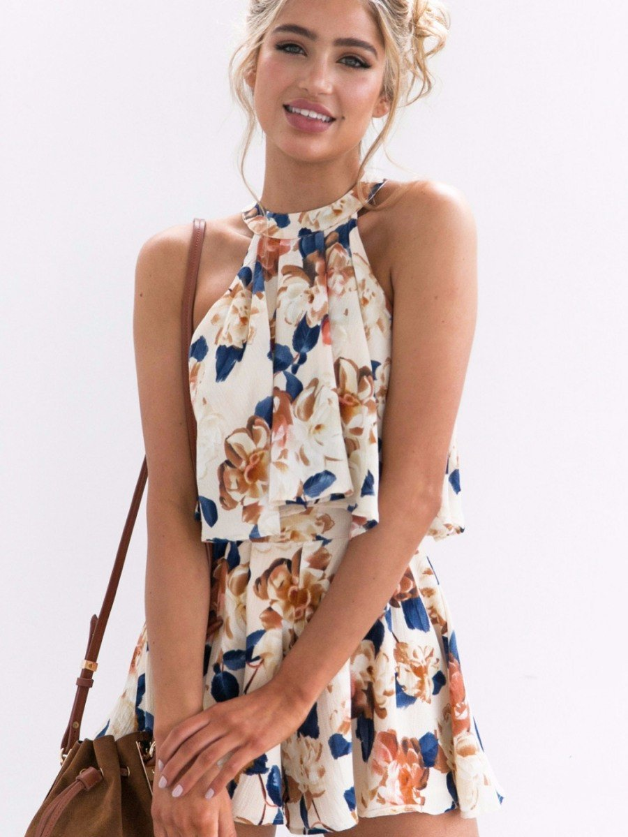 Sexy Bohemia Floral Halter Sleeveless Shirt and Shorts Suits