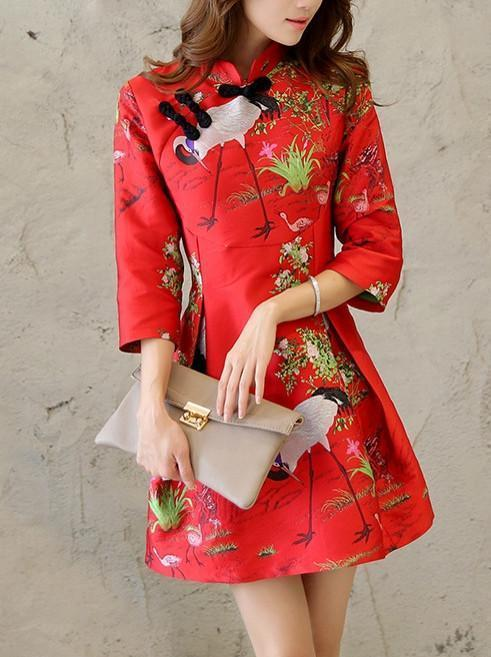 Pretty Floral 3/4 Sleeve Stand Neck A Line Cheongsam Mini Dress