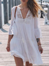 Spaghetti-neck Flared Sleeves Mini Dress