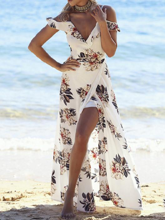 Popular Split-Front Floral-Print V Neck Off-Shoulder Maxi Bohemia Dress