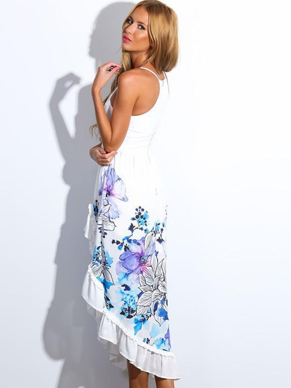 Anomalous Sexy Strapes Floral-Print  V Neck Maxi Dress