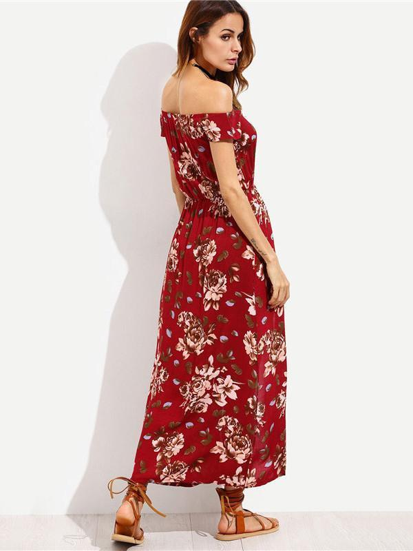 Popular Fashion Floral-Print Short Sleeve Off-Shoulder Bohemia Long Dress