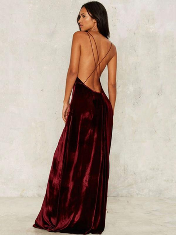 Pretty Sexy Solid Color Straps V Neck Off-Back Side Split Maxi Dress Suits