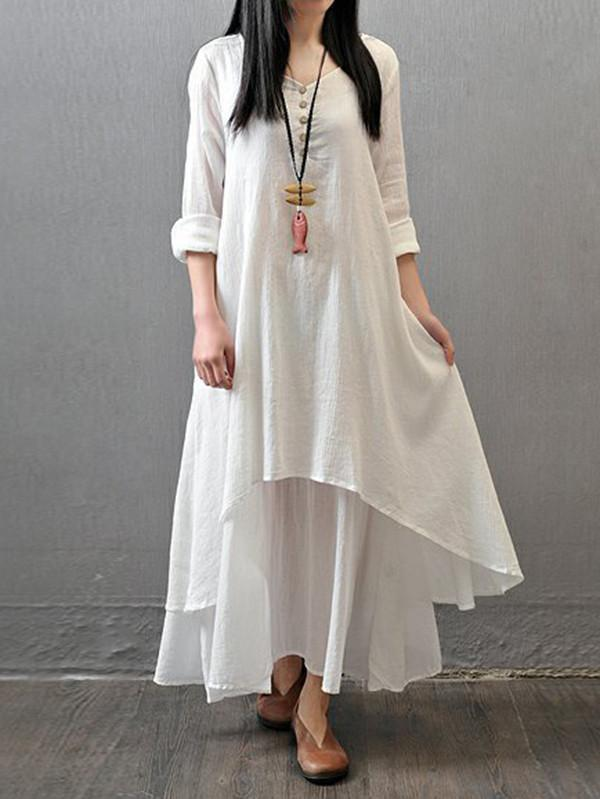 Loose Solid Color 3/4 Sleeve Round Neck Maxi Dress