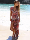 Bohemia Floral-Printed Short Sleeve V Neck Side Split Beach Dress