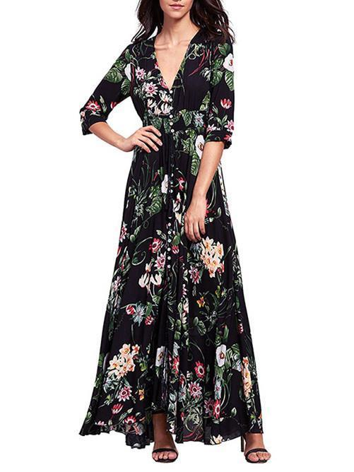 Pretty Bohemia Floral Printed V Neck Maxi Dress