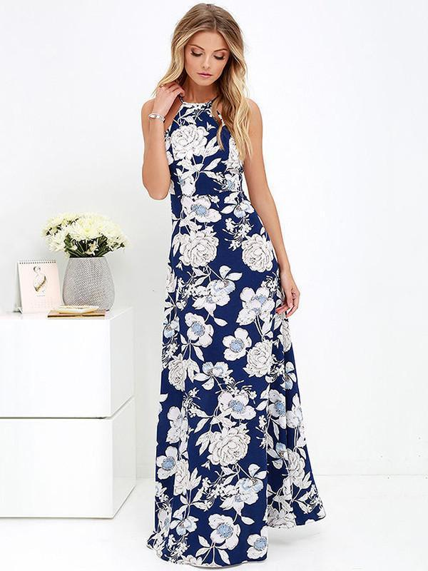 Bohemia Floral Printed Halterneck Backless Maxi Dress