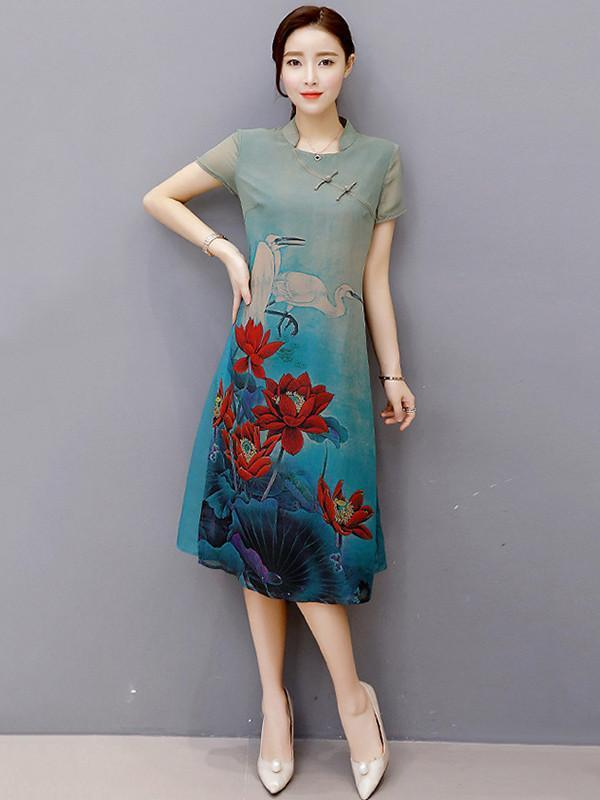 Elegant Floral-Printed Short Sleeves Stand Collar Cheongsam Midi Dress