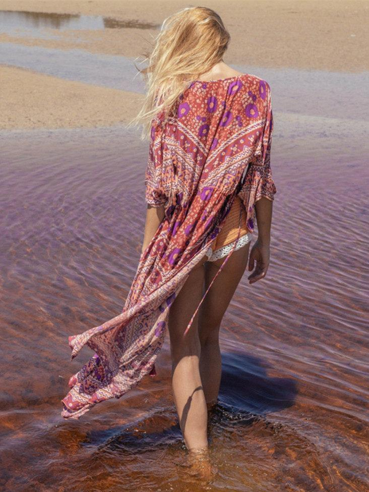 Bohemia Floral-printed Long Sleeves Beach Cover-Ups
