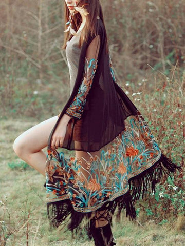 Beautiful Bohemia Long Sleeve Big Round Neck Mini Dress