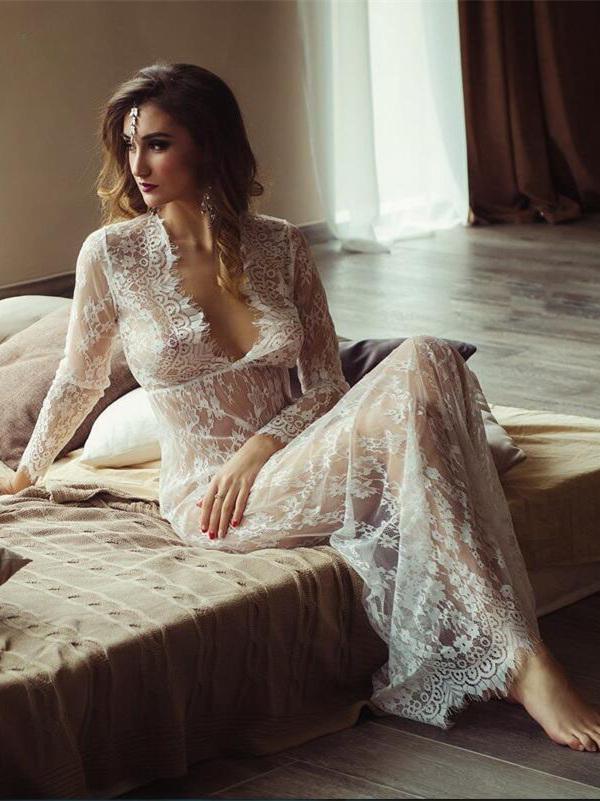 Sexy Lace Deep V-neck Floor Maxi Dress