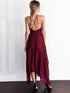 Burgundy Spaghetti-neck Cropped Split-side Maxi Dress