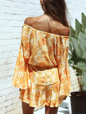 Tie-dyed Off-the-shoulder Flared Sleeves Bohemia Jumpsuit Bottoms
