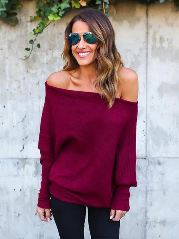 Knitting Batwing Sleeves Off-the-shoulder Sweater Tops