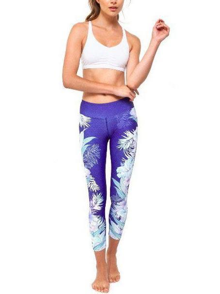 Floral&Feather Printed Sports Yoga Leggings Bottoms
