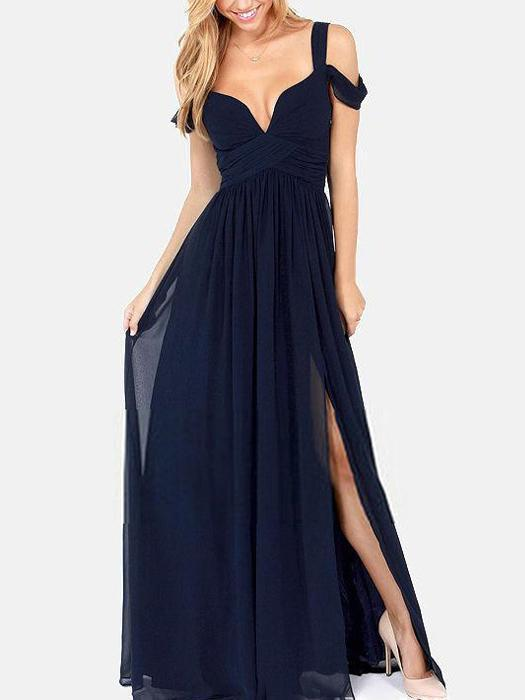 Solid Color  Straps Split-side V-neck Maxi Dress