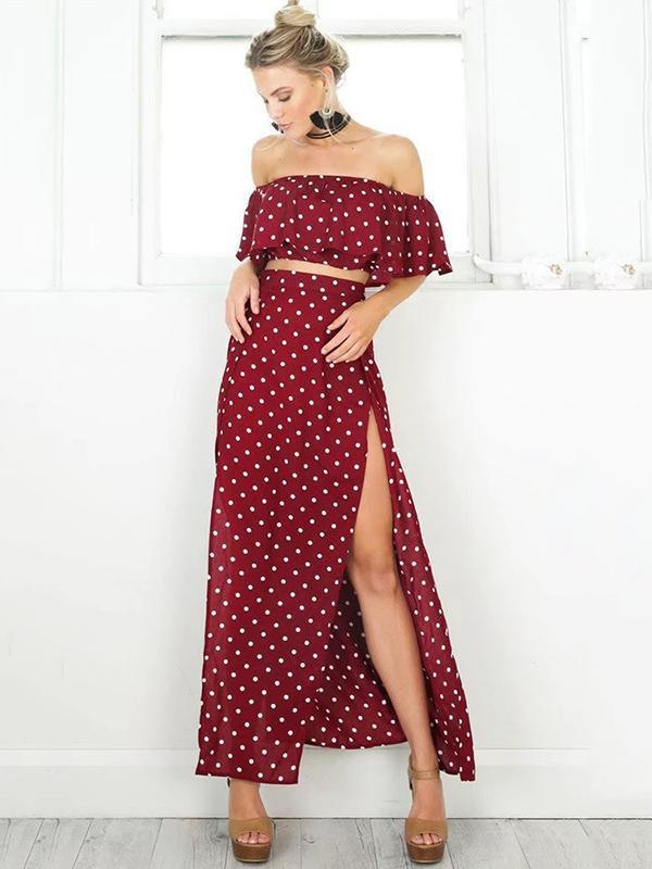 Burgundy Polka-Dot Falbala Off-the-shoulder Short Shirt And Long Skirt Suits