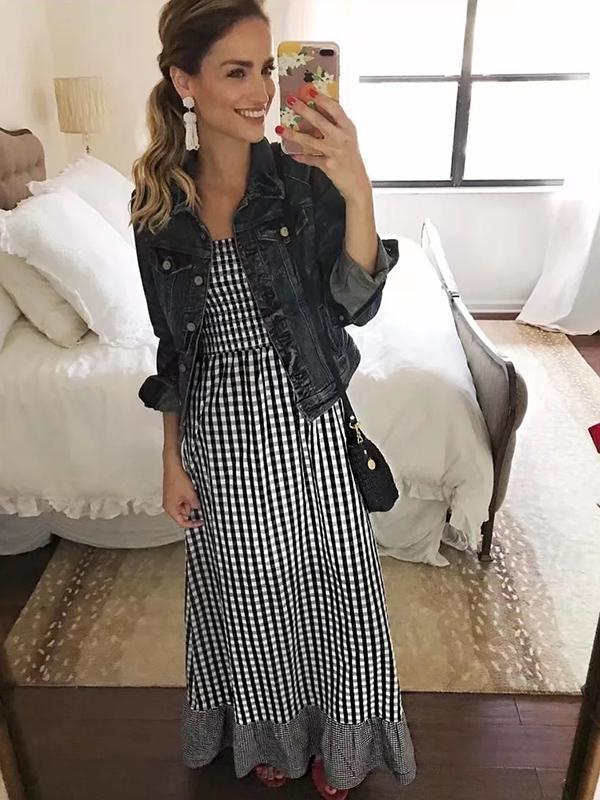 Plaid Spaghetti-neck Bohemia Maxi Dress