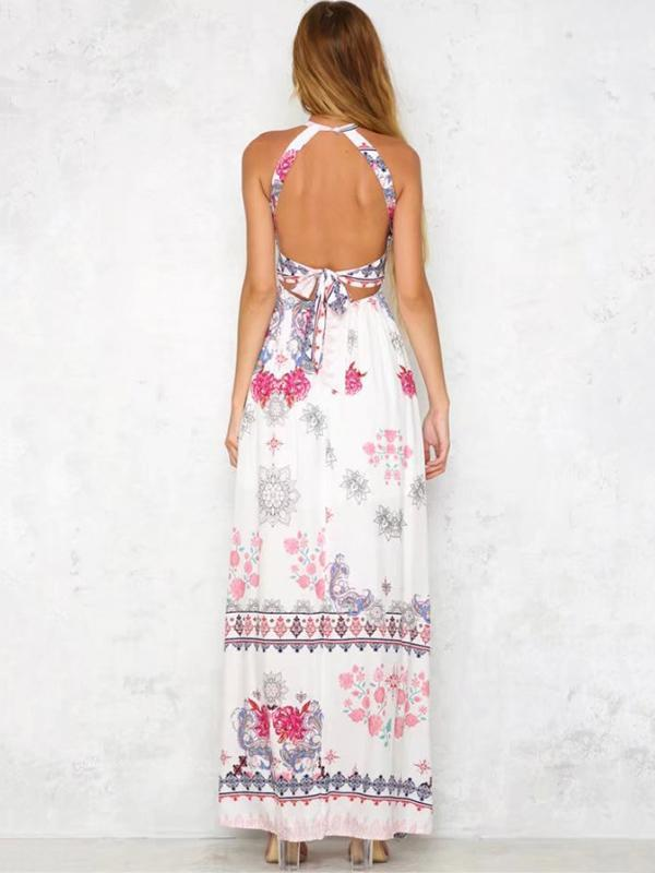 Red Floral Print Halterneck Sleeveless Maxi Dress