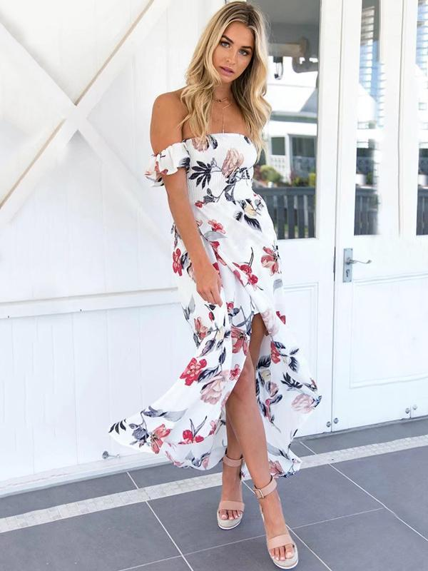 White Floral Off-the-shoulder Split-side Maxi Dress