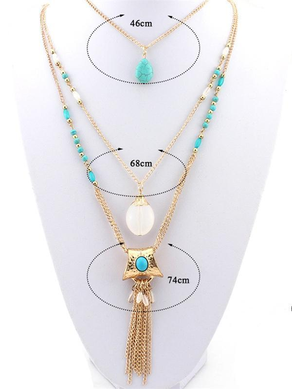 Bohemia Tasseled Alloy&Turquoise Necklaces Accessories