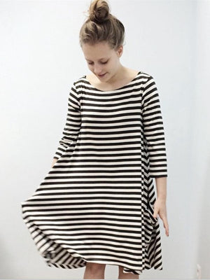 Striped Half Sleeves Loose Parent-Child Midi Dress