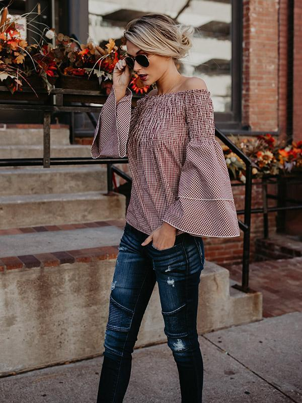 Plaid Off-the-shoulder Puff Sleeves Blouses&Shirts Top