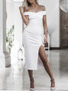 Halter-neck Tasseled Split-joint Maxi Dress