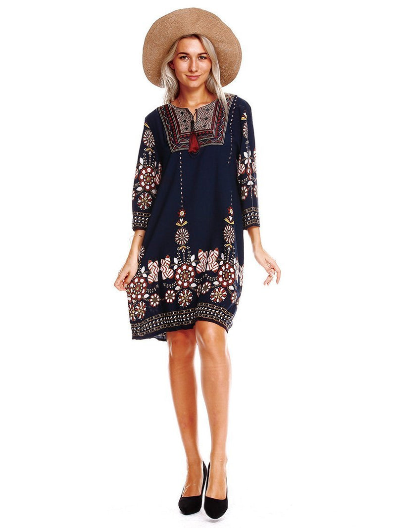 Bohemia 3/4 Sleeves Mini Dress