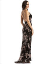 Embroidered Split-side Evening Dress
