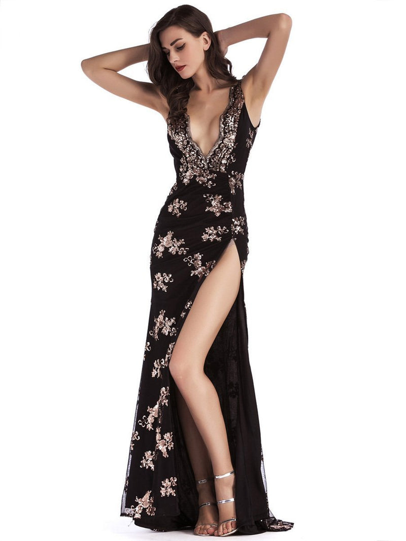 Sequined Split-side Evening Dress