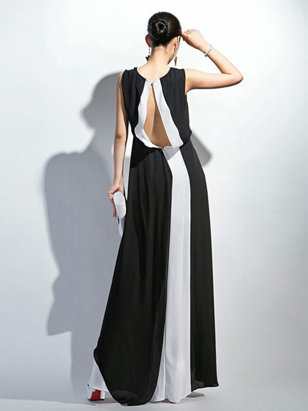 Fashion White&Black V-Neck Sleeveless Maxi Dress Evening Dress