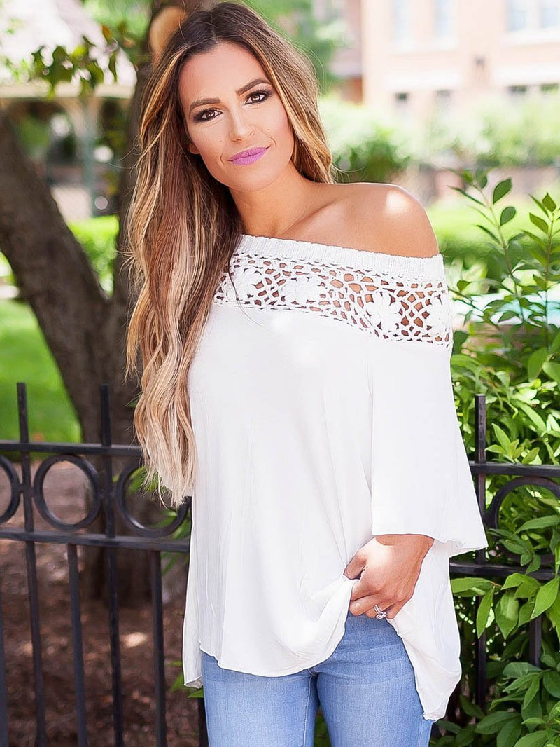 Beautiful Round Neck Lace Half Sleeve T-Shirts Tops