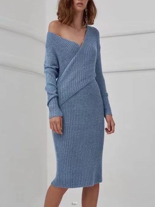 V-neck Knit Jumper Midi Dress
